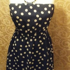 The Limited Strapless Dress Polka Dot blue sz. L